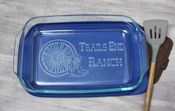 Custom Monogrammed Wagon Wheel 9x13 Baking dish